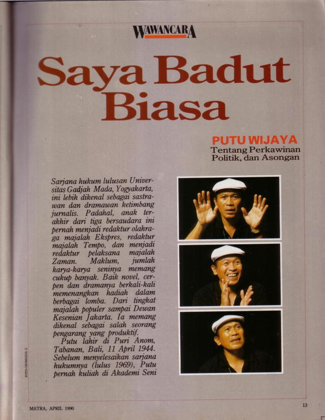 Wawancara Putu Wijaya